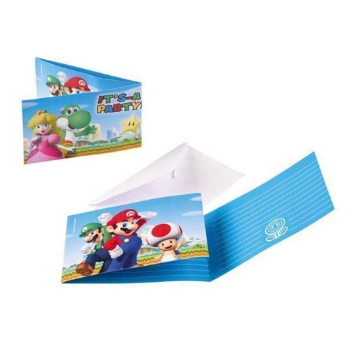 Image of Super Mario Invitationer, 6 stk. (0013051695583)