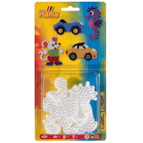 Image of   Hama 3 perleplader, søhest, mus og bil