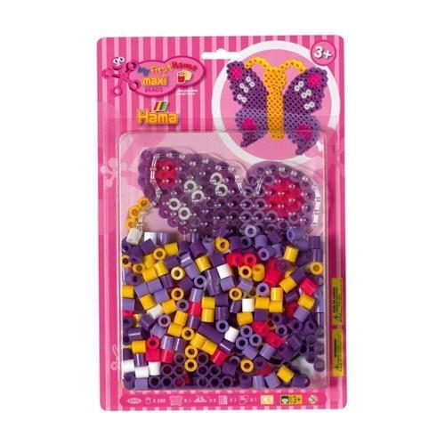 Image of Hama Maxi perlesæt med sommerfugl, 250 perler (0028178890889)