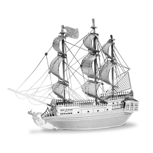 Image of Metal Earth Pirate Ship Black Pearl Silver Edition (0032309010121)