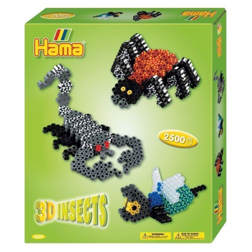 Image of Hama 3D perlesæt, insekter med 2500 dele (028178032395)