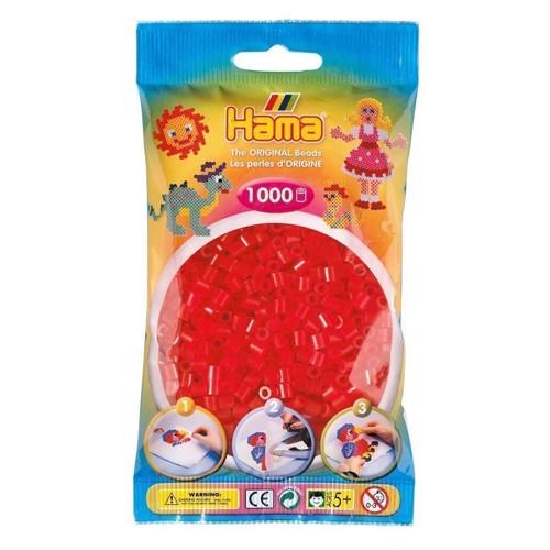 Image of   Hama perler rød transparent (013), 1000 stk