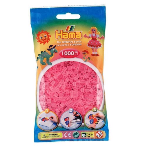 Image of   Hama perler pink transparent (072), 1000 stk