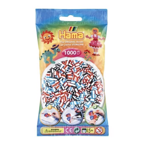 Image of   Hama perler, stribet mix (091), 1000 stk