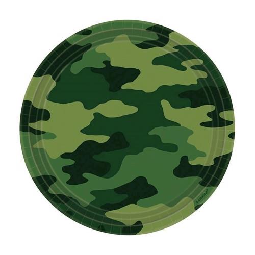 Image of Engangstallerkner 8 stk. militær