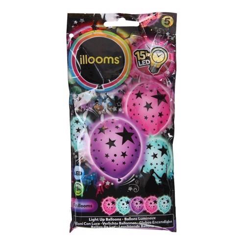 Illooms LED Balloner med lys og stjerner 5 stk