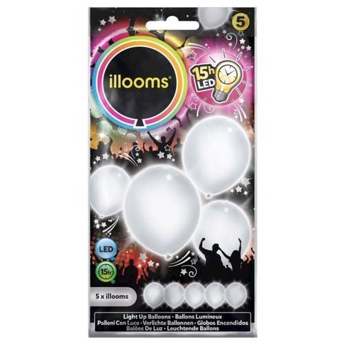 Image of   Illooms LED Balloner med lys 5 stk hvid