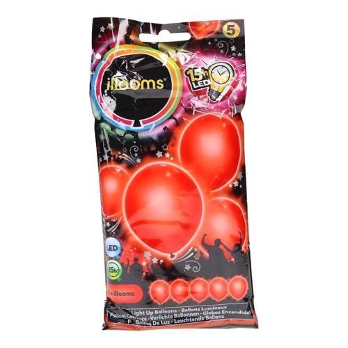 Illooms LED Balloner, 5 stk rød