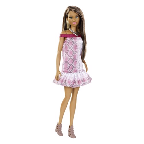Image of   Barbie dukke, Fashionista dukke med slangeskindskjole