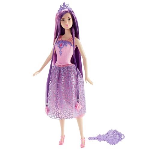 Image of   Barbie dukke med langt hår lilla prinsesse