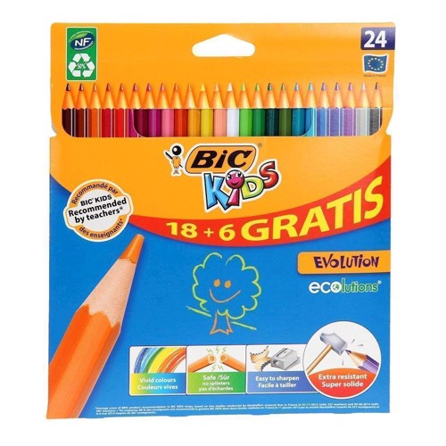 Image of   BIC - Kids, Farveblyanter, Evolution Ecolutions 18 + 6 stk