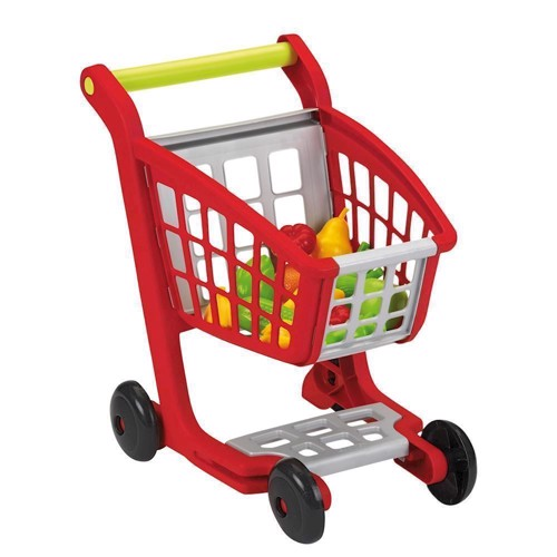 Image of Ecoiffier 100% Chef shopping cart with groceries