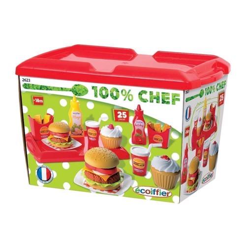 Image of   Ecoiffier 100% kok, 25dlg Hamburger sæt, Chef.