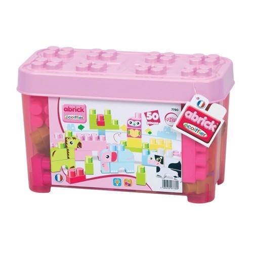 Image of Abrick maxi pink kasse med dyr, 50 dele (3280250077800)
