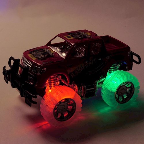 Image of Pickup truck med lys, rød