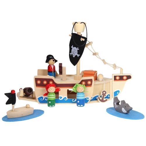 Image of   Transportabelt piratskib i træ, 10 dele