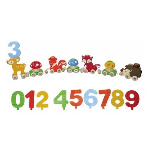 Image of Fødselsdags tog med tal og figurer