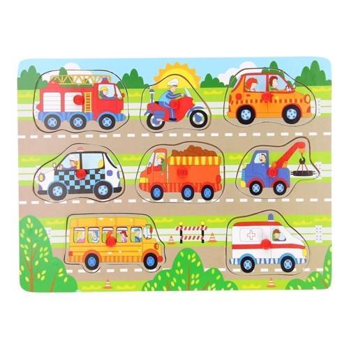 Image of   Knoppuslespil, køretøjer i trafikken