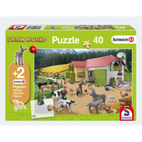 Image of   Schleich Farm World puslespil med 40 brikker og to figurer