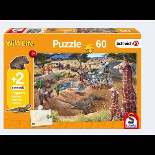 Schleich Wild Life puslespil med 60 brikker og 2 figurer