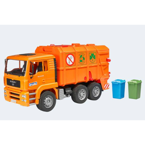 Image of Bruder skraldebil 47cm MAN TGA orange (4001702027605)