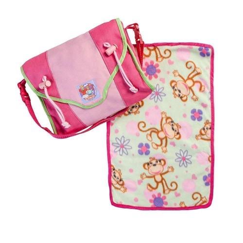 Image of   Ble taske med tilbehør til dukker