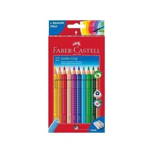 Image of Faber Castell - Farveblyanter Jumbo Grip 12 stk + blyantspidser (4005401109129)