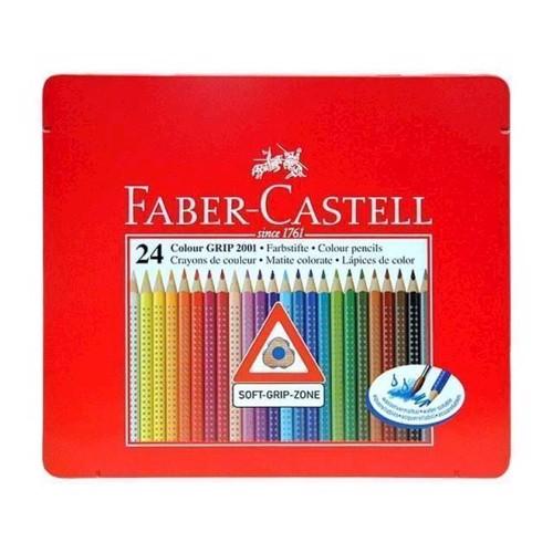 Image of Faber Castell - 24 Farveblyanter GRIP 2001 Soft-Grip-Zone i metal æske (4005401124238)
