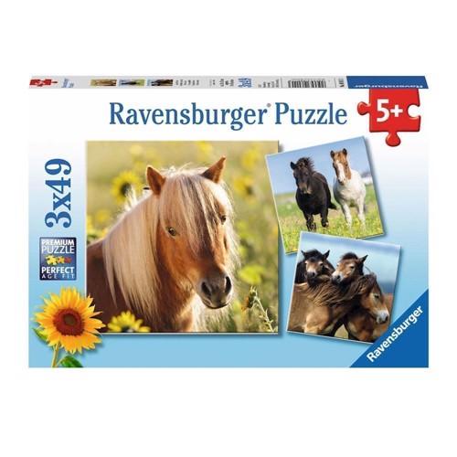 Image of Ravensburger puslespil Cute Ponies, 3x49st.