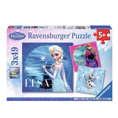 Image of Ravensburger puslespil Disney Frozen puslespil: Elsa, Anna &Olaf, 3x49st.