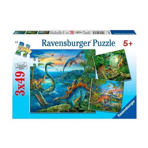 Image of Ravensburger puslespil Dinosaurs, 3x49st.