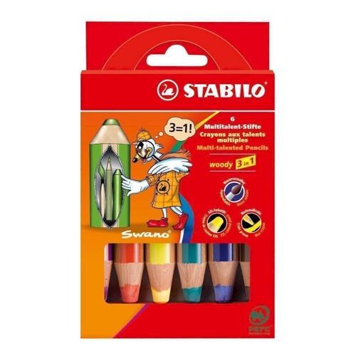 Stabilo, Farveblyanter, Woody 3 i 1, 8806, 6 stk