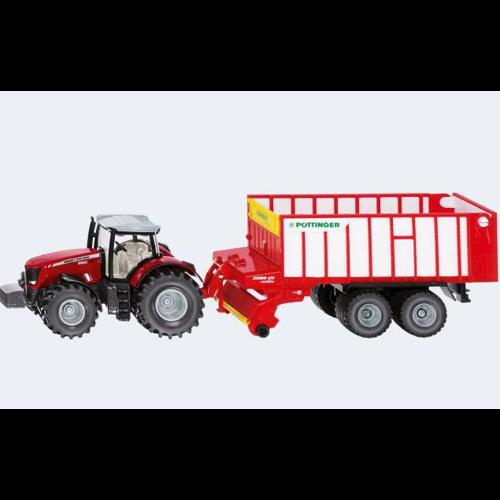 Image of   Siku Massey Fergusson traktor med Pöttinger Jumbo vogn