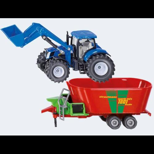 Image of   Siku New Holland traktor med frontlæsser og fodder blander
