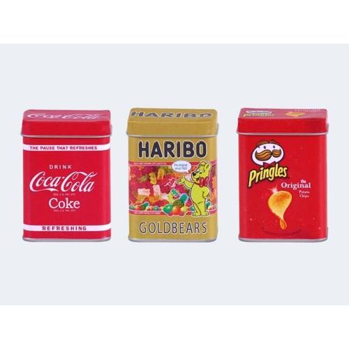 Image of   Coca Cola / Haribo / Pringles metal dåser