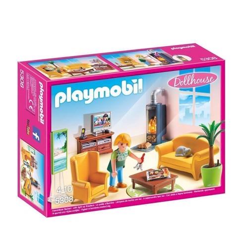 Image of Playmobil 5308 Stue med pejs med lys (4008789053084)