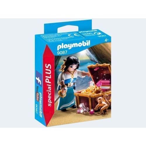 Image of Playmobil 9087 Pirate Woman with Treasury (4008789090874)