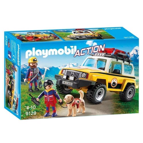 Image of Playmobil 9128 Rescue workers with SUV (4008789091284)