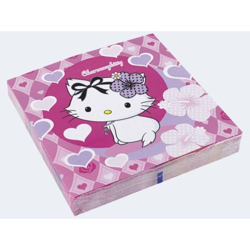 Image of   20 Servietter 33x33cm Charmmy Kitty Hearts