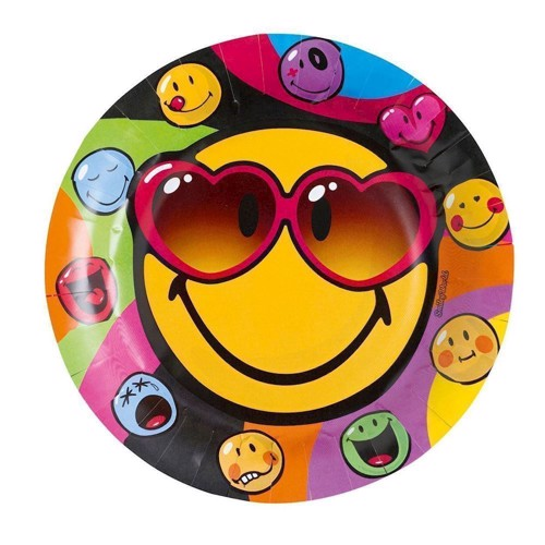 Image of Engangstallerkner med Smiley, 8 stk