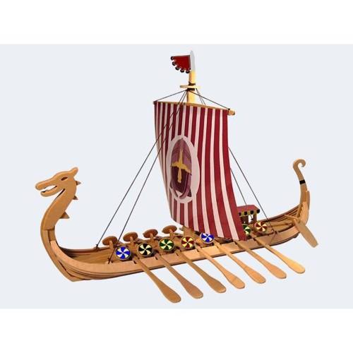 Image of   Byggesæt i træ, vikinge drageskib 35cm