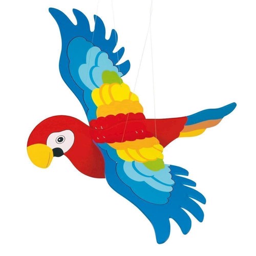 Image of Wooden Swing Figure Parrot