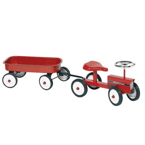 Løbe traktor med trailer