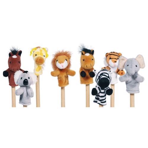 Image of   Dukketeater, Fingerdukker med vilde dyr