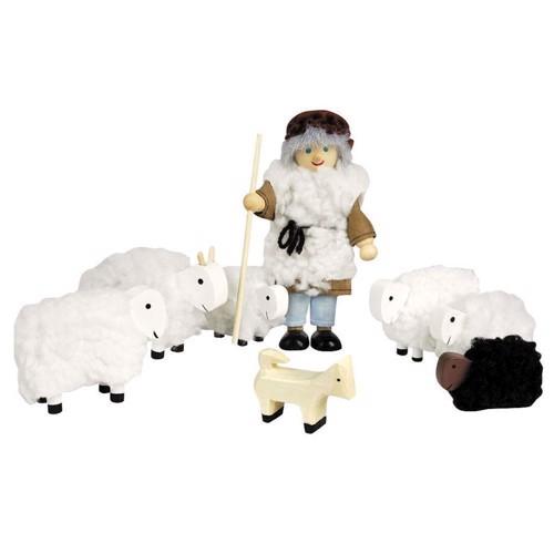 Image of   Fårehyrde med får, til dukkehus