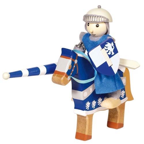 Image of   Ridder i træ på hest, blå