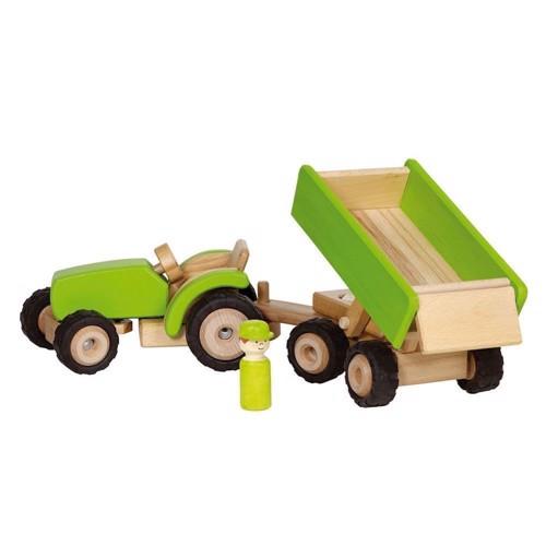 Image of Traktor med trailer i træ (4013594559416)
