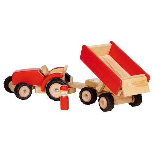 Image of Traktor med trailer i træ (4013594559423)