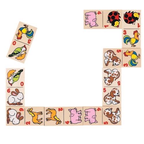 Image of   Domino med dyr, 28 brikker