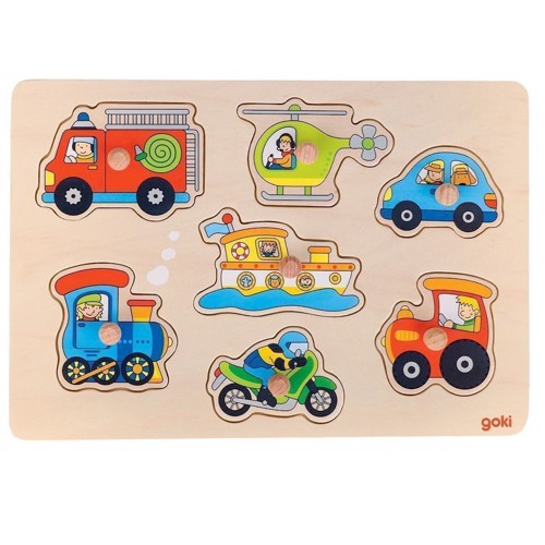 Image of   Knoppuslespil med køretøjer, 7 brikker
